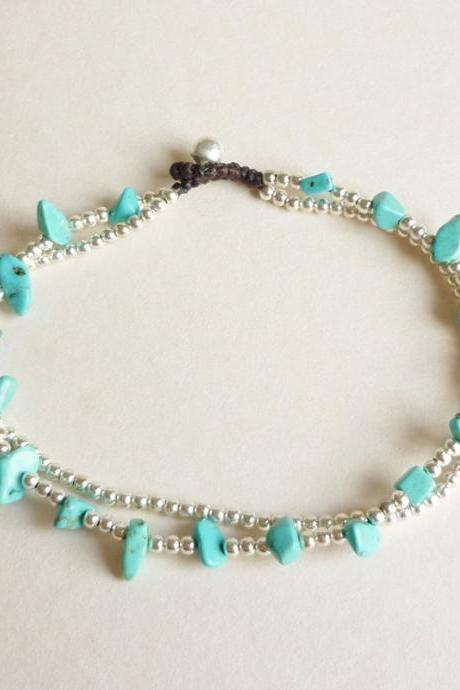 For Anklet - Double Strands of Turquoise Blue Chip Beads and Silver Plated Beads with Wax Cord Anklet - Gift under 10