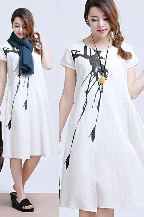 White Ink stained linen short-sleeved dress fold loose round neck dress