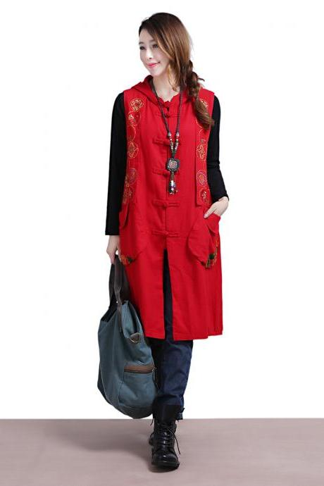 Wearing a red linen vest jacket / ethnic style fashion temperament Maga