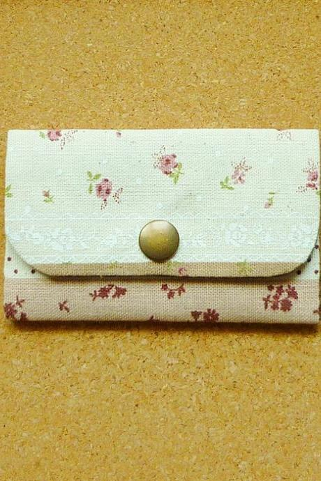 Brown Floral Cotton Linen Business Card Case - Fabric Card Holder - Gift under 15 - Bag
