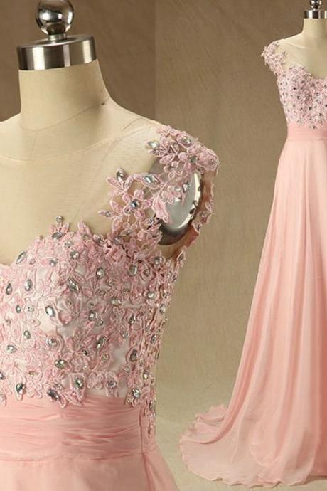 Elegant boat neck pink chiffon and lace A line long prom dress,beaded evening prom dress