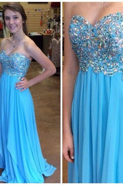 High quality blue sweetheart neck beaded long prom dresses,A line floor length evening party dress