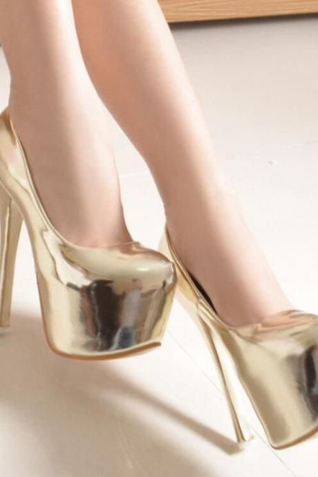 Metallic Gold Faux Leather Leather Stiletto Pumps