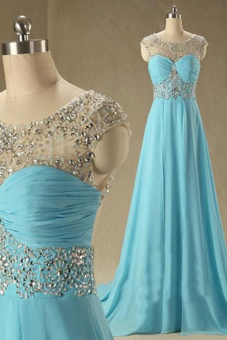 Cap sleeve blue chiffon a line floor length long evening prom party dresses