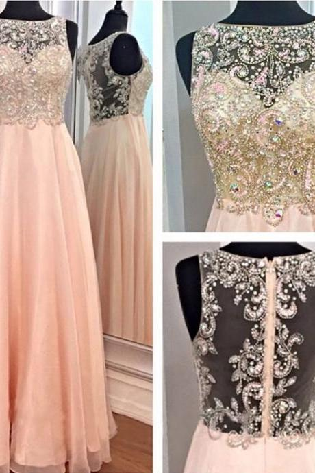 Peach chiffon boat neck sleeveless A line floor length beaded long dress prom dress,fashion evening prom gown,formal party dress