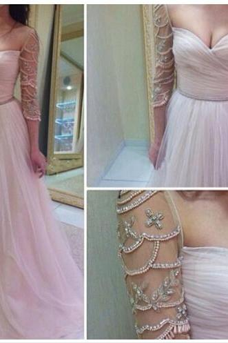 sweet heart prom dress, modest prom dress, long sleeve dress, evening dress, occasion dress, elegant prom dress, tulle prom dress, BD186