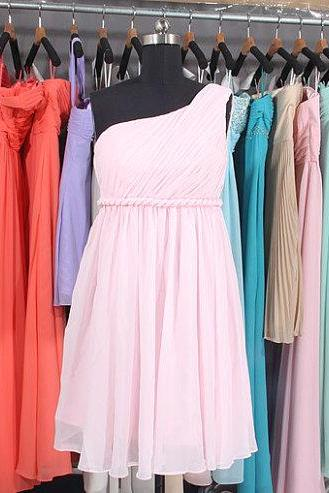 Pink bridesmaid dress, One Shoulder Bridesmaid Dress, Empire Waist bridesmaid dress, Short bridesmaid dress, Chiffon Bridesmaid Dress, BD2707