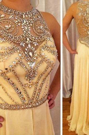 Yellow prom dress, formal prom dress, chiffon prom dress, lovely prom dress, prom dress, handmade dress, BD198