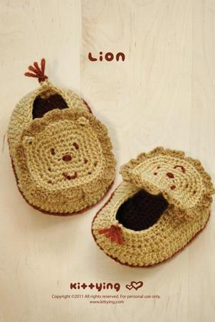 CROCHET PATTERN Lion Baby Booties - Photo, Chart & Written Pattern