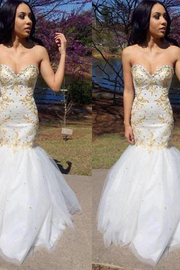 White mermaid prom dress, sleeveless prom dress, evening dress, sweet heart prom dress, available prom dress, BD203