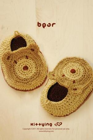Crochet Booties Pattern Baby Bear Booties Crochet PATTERN Baby Slippers Crochet Baby Shoes Bear Appliques - Photo, Chart & Written Pattern