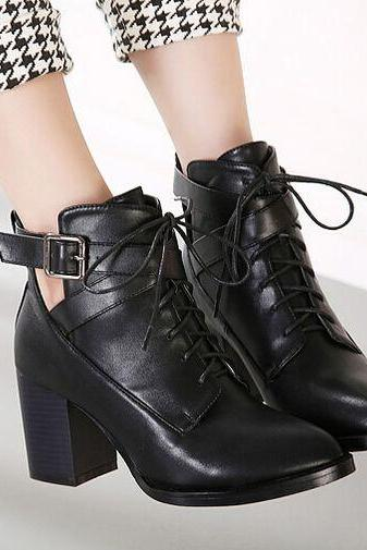 Casual Street Style Black Pointed Toe Boots