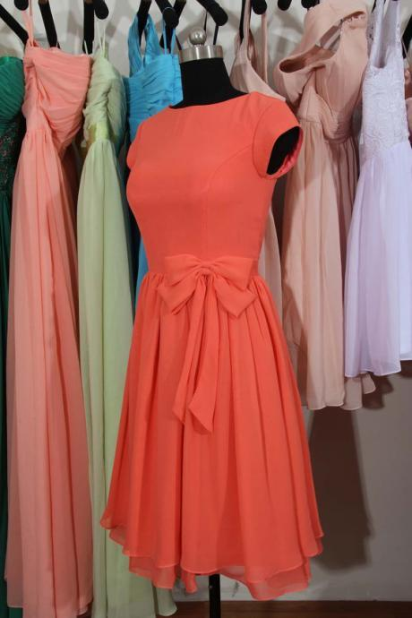 Coral bridesmaid dress, Cap Sleeves Bridesmaid Dress, Knee Length Bridesmaid Dress,short bridesmaid dress,bridesmaid dress,BD2716