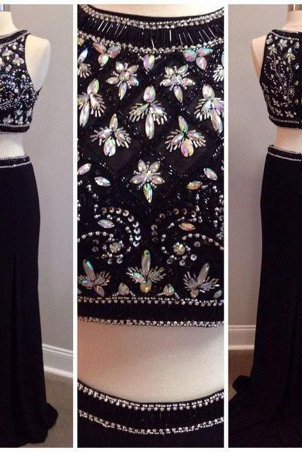 Black Sleeveless Beaded Two-Piece Mermaid Prom Dress, Evening Dress