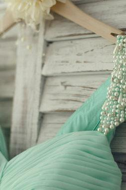 Lovely Handmade Mint Blue Chiffon Long Bridesmaid Dress 2015, Pearl Beaded Cap Sleeves Prom Dress, Prom Dresses 2015