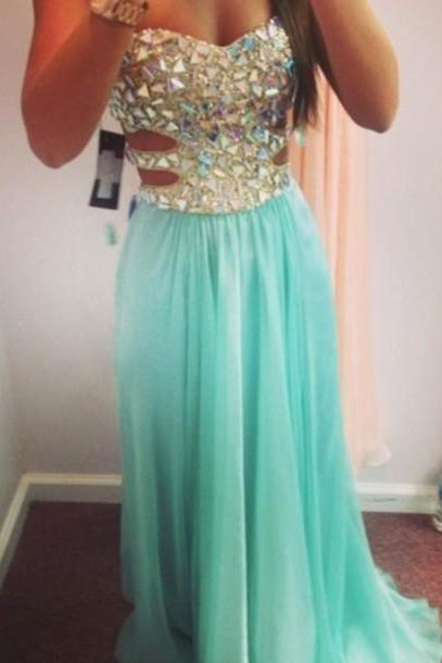 2015 Ice Blue Strapless Cut Out Prom Dress With Crystals