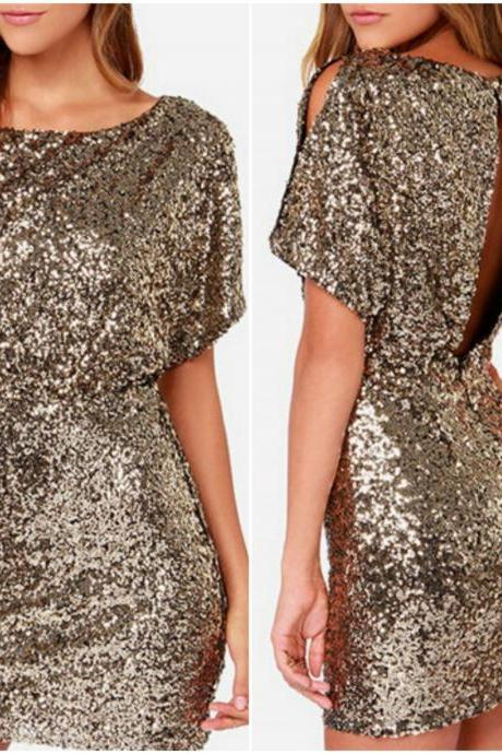 Fabulous Sequined Short Sleeve Dress VG01MN