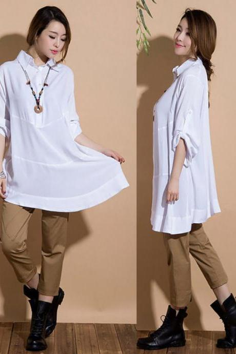 Irregular white long-sleeved casual shirt
