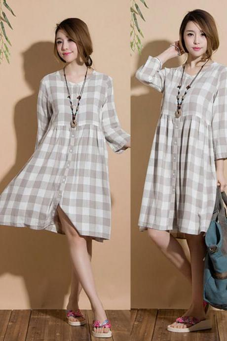 linen plaid high waist cardigan dress