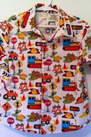 Boys Construction Trucks Button Down Shirt