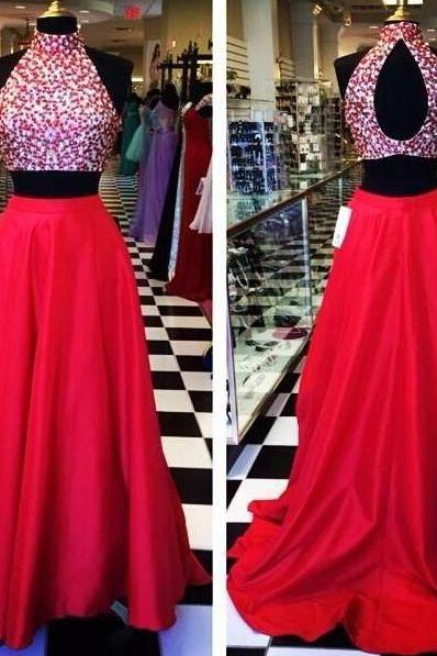Two Piece Prom Dresses 2015 Open Back Red Sexy Crystal High Neck Taffeta Mid Section Party Evening Dress Gowns