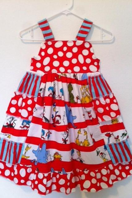 Dr Seuss Ruffle Dress Sizes 2-8