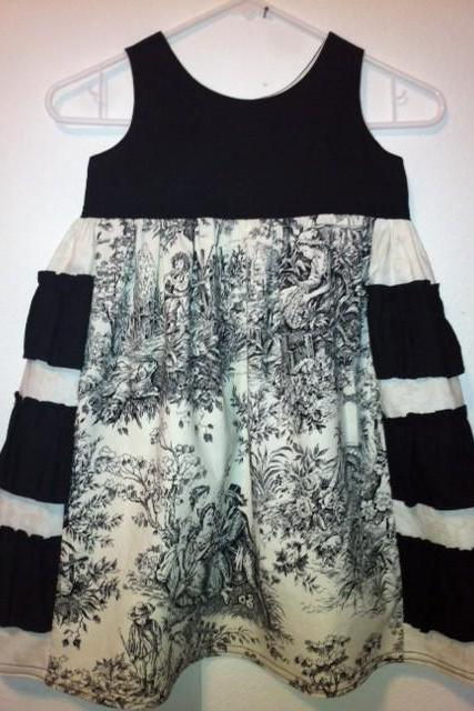 Black and Ivory Toile Ruffle Dress