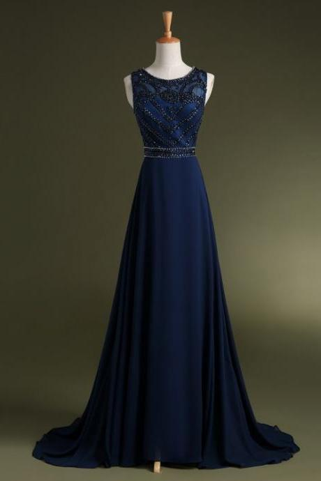 Navy blue chiffon o-neck A line beaded floor length long evening prom dress,elegant formal party dress 2015