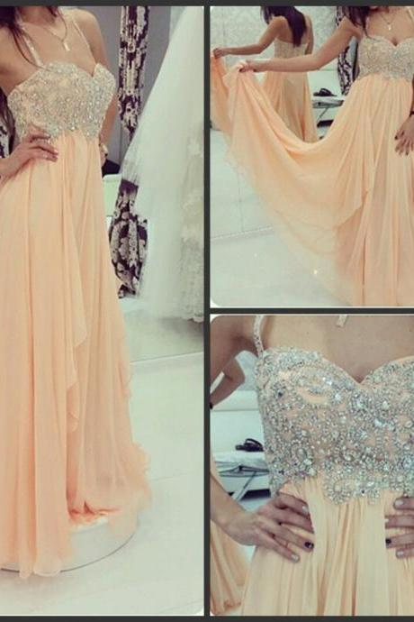 Halter peach chiffon A line floor length beaded elegant prom gown,long evening party dress,formal party dress