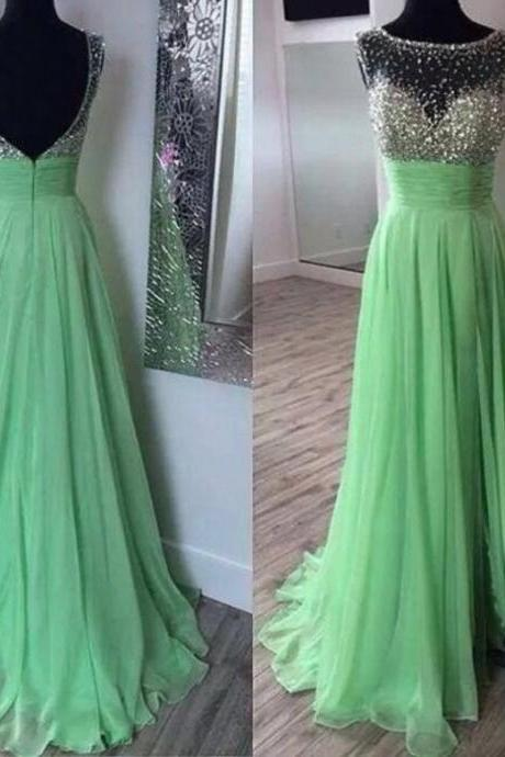 Mint green chiffon dress prom, boat neck long beaded evening dresses,A line zipper back party dress