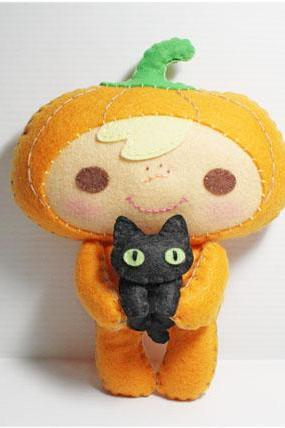 Halloween Pumpkin Kid and Black Cat - PDF Doll Pattern
