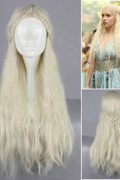 Gold Game of Thrones-Daenerys Targaryen Long Curl Cosplay Wig Hair Wig Lolita Wig