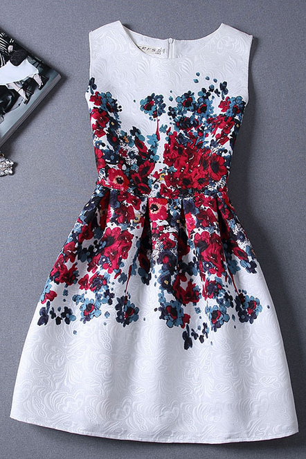Slim sleeveless vest printed dress FG42913JH