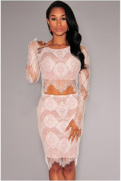 Round neck long sleeve lace lace two-piece MAO jacket + skirt