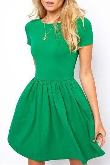 Casual Short Sleeve A Line Dress - Green