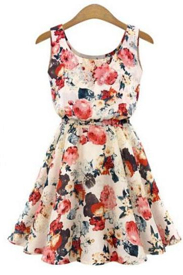 Fashion floral print sleeveless summer casual dress BGH07