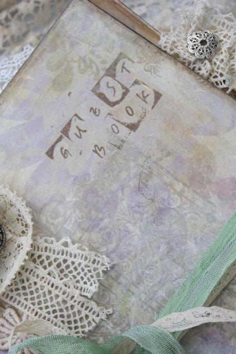 Lace Wedding Guest Book Shabby chic style Mint Green Vintage Cottage Style Custom