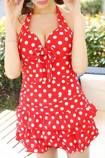 Cute Polka Dot Halter Flounce One Piece Swimwear - Orange