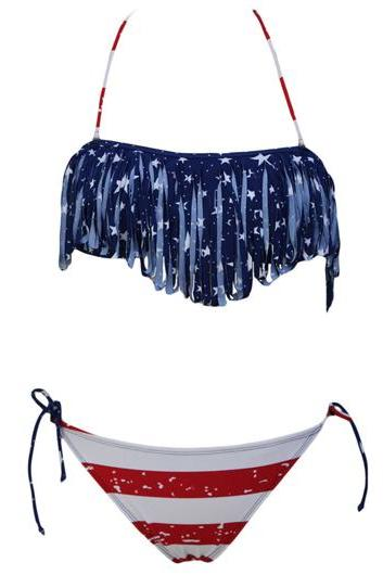 High Quality Fringe Decor American Flag Bikinis