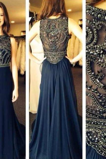 Sexy Scoop Neck See Through Crystal Dark Blue Chiffon A-line Beaded Long Prom Dresses, Evening Dresses, Formal Dresses