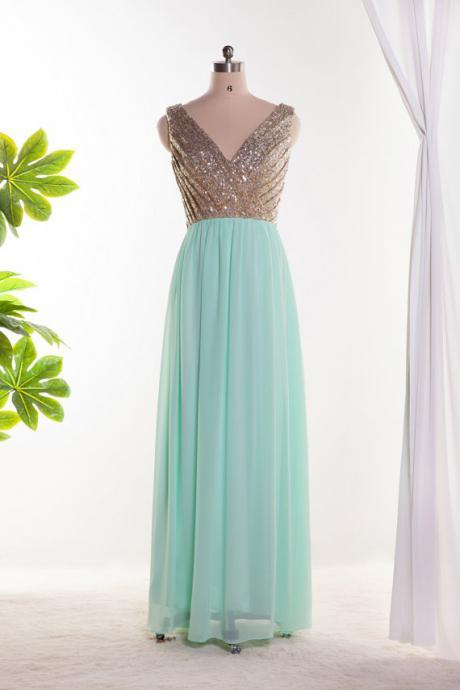 Mint green bridesmaid dress, v neck sequins bridesmaid dress, chiffon dress, long prom dress ,homecoming dress, formal dress, custom made dress, BD3001