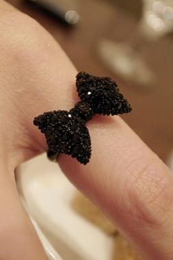 Cute Vogue Black Bow Rings for Girls Metal