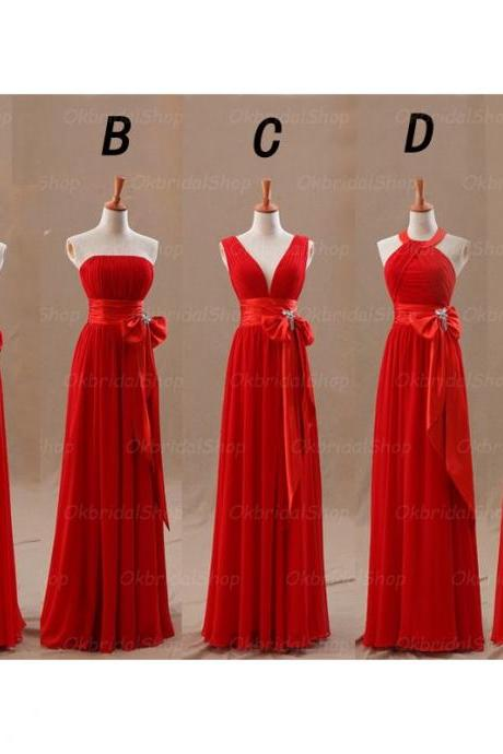 red Bridesmaid Dresses, Mismatched Bridesmaid Dresses, chiffon Bridesmaid Dresses, Inexpensive Bridesmaid Dresses, CM453