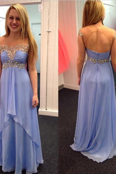 cap sleeve prom dress, lovely prom dress, formal prom dress, floor-length prom dress, handmade prom dress, custom prom dress, BD235