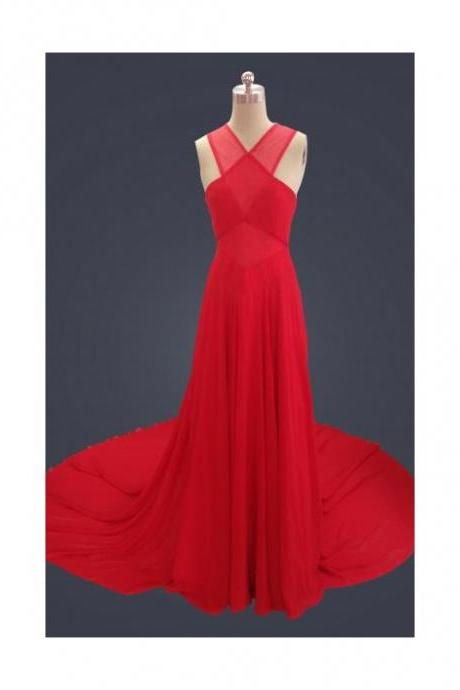 2015 Red Chiffon Sweep Train Halter Prom Dress With Keyhole Back