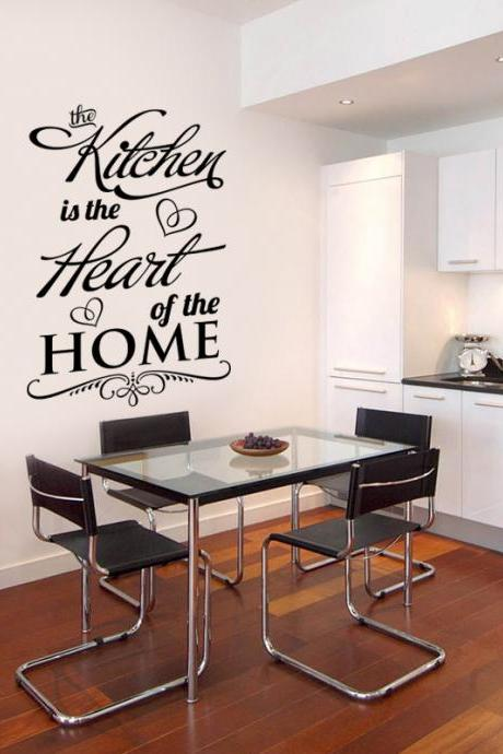 Wall Decal Quotes - The Kitchen is the Heart of the Home Wall Decal, art quote stickers, design wall decoration, vinyl lettering