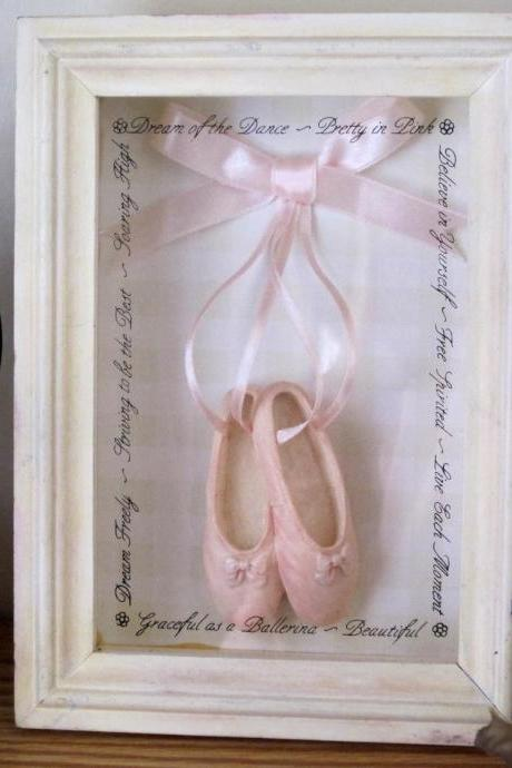 Vintage, Shadow Box, Picture, Picture Frame, Shabby Chic, Dance, Pink, Shoes