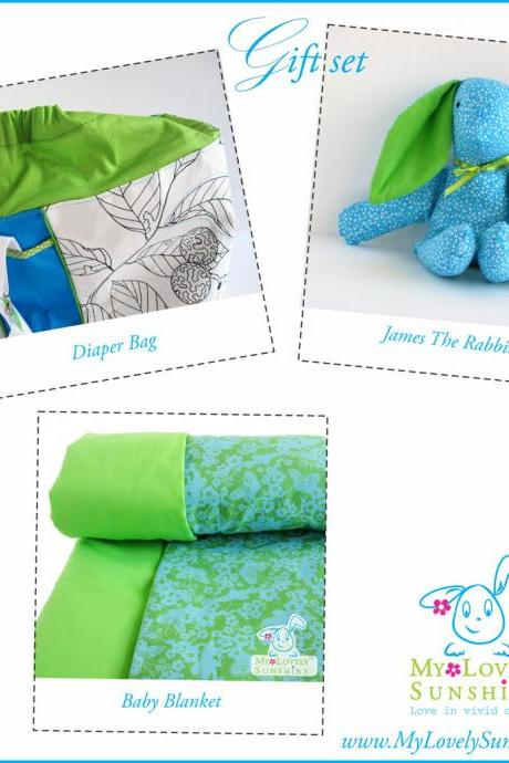 New Born Gift Set - Diaper Bag ,Blanket and James the Rabbit