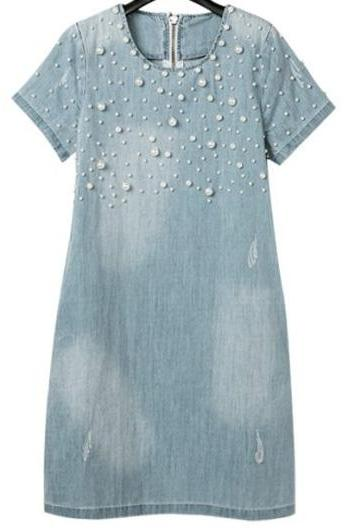 Fashion Bead Decoration Denim Light Blue Straight Dress