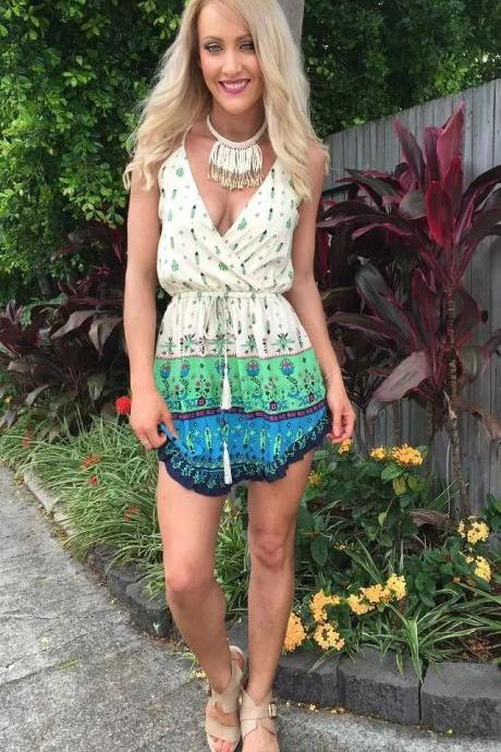 Summer Women Sexy V-Neck Backless Mini Beach Dress Lady Boho Braces Dress